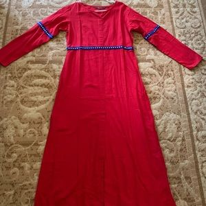 Red long kurta with slit and embroidery
